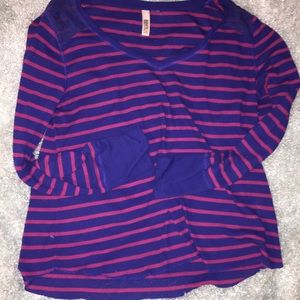 Pink and violet stripe long sleeve top with lace